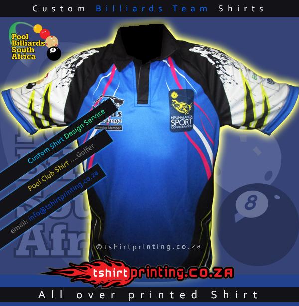 Custom billiards team golfer t shirt printing solutions for Team t shirt printing