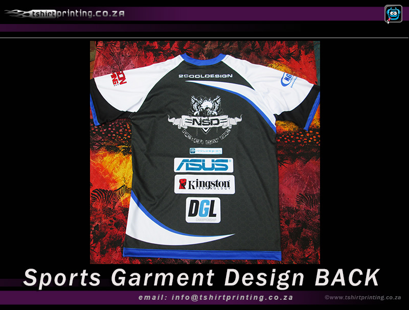 sports garment t-shirt printed final back of shirt