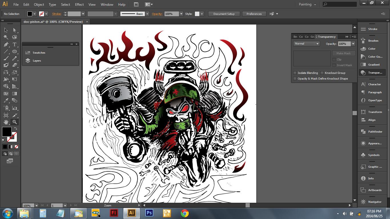 Skull Piston Drawing Doctor Piston Remix Design1