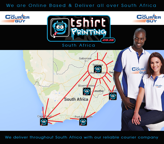 tshirtprinting.co.za Delivery Throughout South africa using thecourierguy