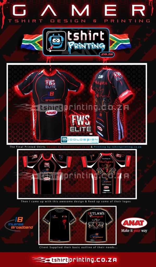 gamer-shirt-design-and-printing-by-2cooldesign.co.za-and-tshirtprinting.co.za,outlaws gamer shirts, rage expo 2014, gamer team, gamer shirt idea, cool t-shirt design