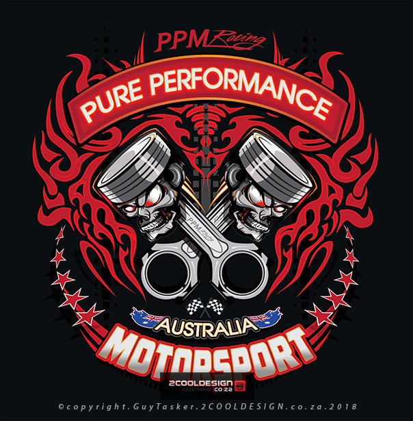 cool motor sport piston logo