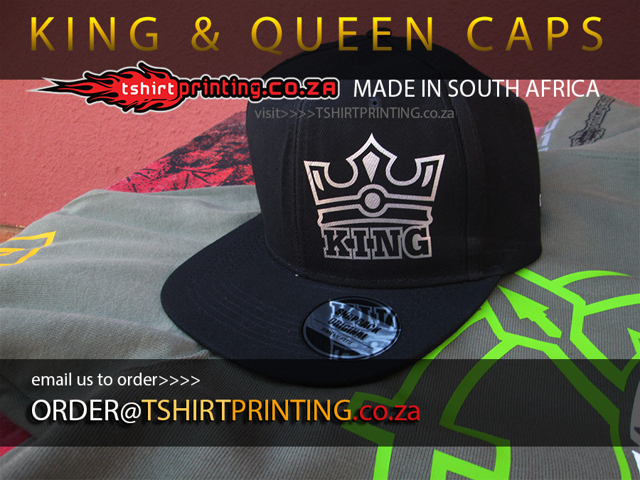 King queen caps buy now online in south africa for Snap t shirt printing